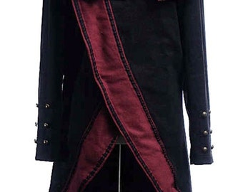 Brocade Pirate/ Military Style Coat - Black and red