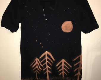 Custom bleached Night Tree Scene Shirt