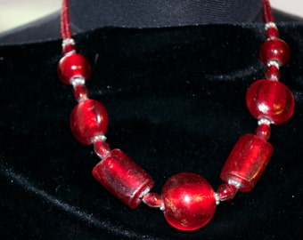 Vintage Necklace Large Red Glass Beads Stunning Statement Piece