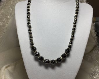 """Hematite Necklace and Earing Set.  Length: 16 1/2"""""""