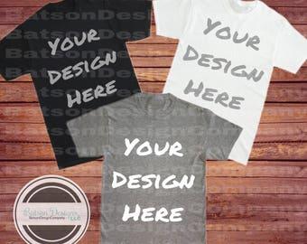 3 Shirts Together White Black Gray Mockup Instant Download | T-shirt Top Mock-up Warm Light Wood Background Jpeg File | Commercial Use