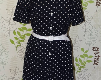 Vintage Black and white spotty dress with unusual white double collar with black stripes