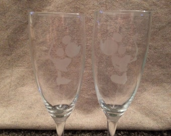 Disney 'His & Hers' Champagne / Prosecco flutes / glasses / birthday