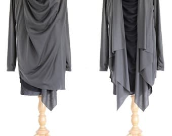 Women Tunic in Black Gray Long Sleeves - Layered Tunic Top - Long Slouchy Wrap Cardigan / Layered Tops Light Jacket - 11196