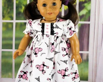 Nightgown For 18 inch Doll,  Doll Clothes, Doll PJ's, Fits American Girl, Pink Poodles In Paris, Pajamas, Flannel Nightgown, Free Shipping