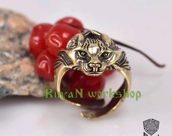 Lynx ring. Bobcat ring Lynx head ring. Cat ring. Lynx Head Lynx cat Jewel Celtic Rings Pagan Jewelry Rings Animal Jewelry