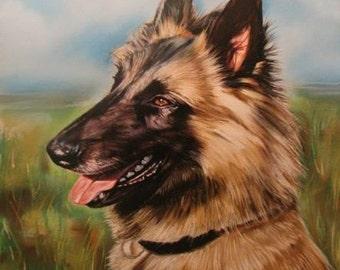 Custom Dog portrait painting  Dog portrait Custom dog painting Dog Cat painting Handmade gift present Active Photos