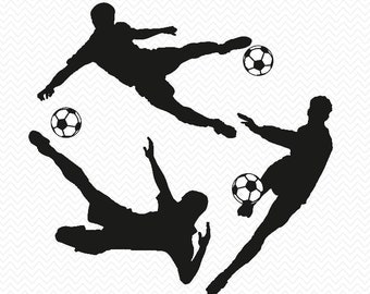 Soccer Players Download- for Silhouette Studio- SVG files for instant download- T-shirt decal- Vinyl-png, pdf, eps, dxf, svg- soccer balls