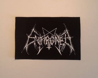 Enthroned patch white logo black metal
