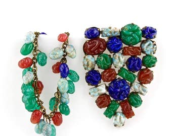 Vintage Matching Czech Glass Dress Clip And Bracelet Set