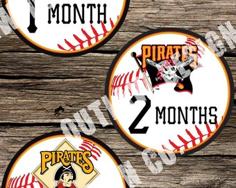 Baby Boy Monthly Milestone Markers Printable Instant Download MLB Baseball Pittsburgh Pirates Team Nursery