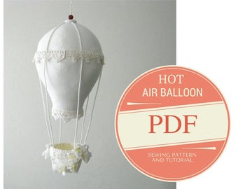 Hot Air Ballon Decoration - Hot Air Balloon Pattern - PDF sewing pattern - Step by step tutorial - Instant download