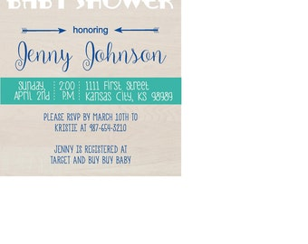 Navy Blue and Teal Baby Shower Invitation, Printable, Banner
