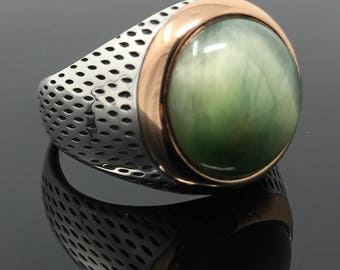 Handmade .925 Sterling Silver Rare Green Tiger's Eye Men's Ring -US Seller - K42B