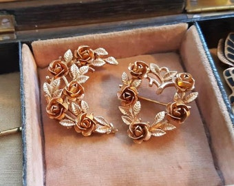 A pair of sweet Vintage Scatter Pin Brooches - a crescent and a heart of roses and leaves.