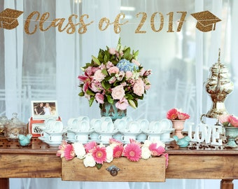 Class of 2017 banner, graduation party decorations, high school graduation party ideas graduation backdrop graduation party decorations 2017