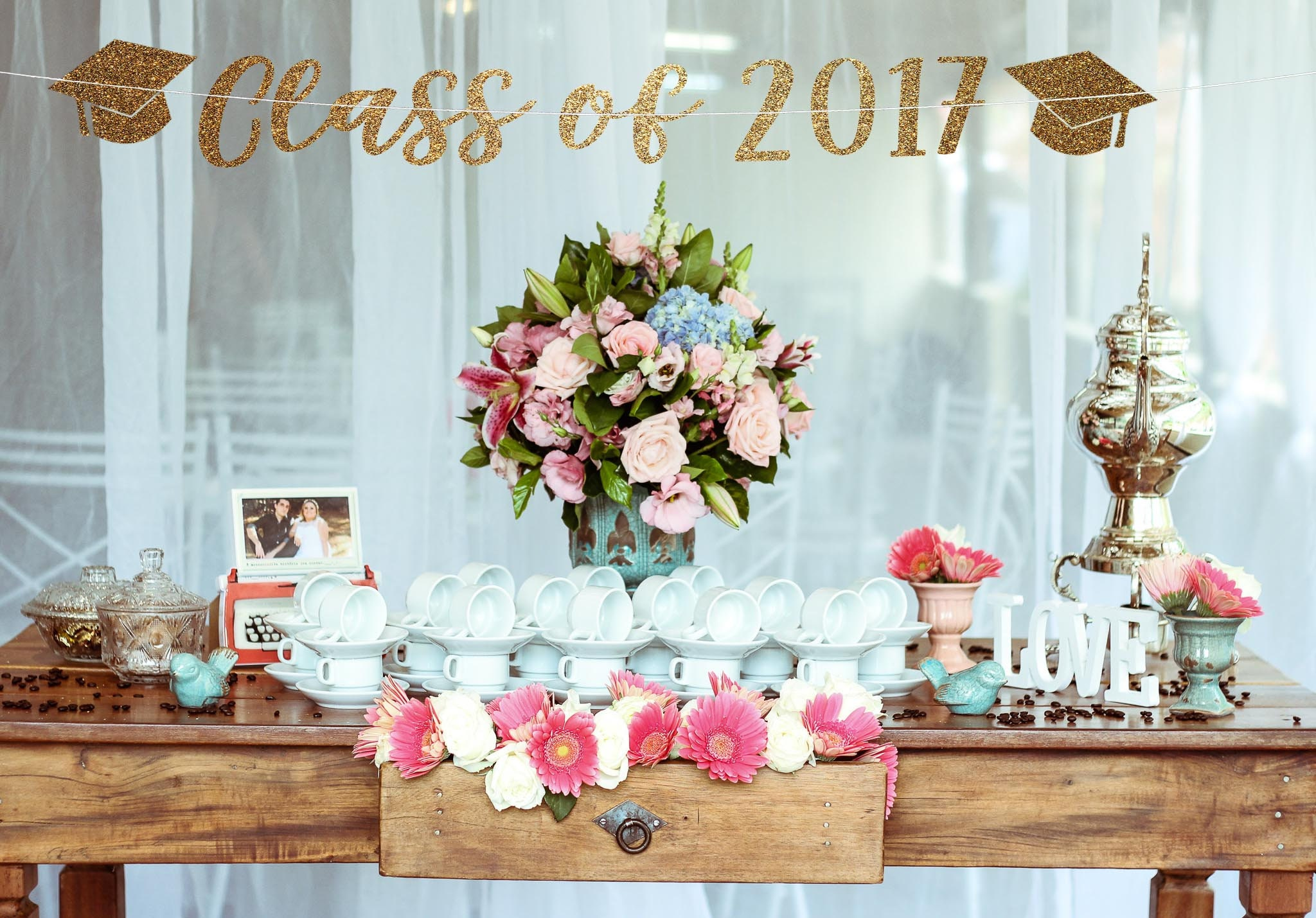 Class of 2017 banner graduation party decorations high for Party backdrop ideas