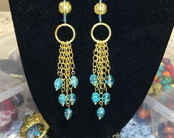Gold chain crystal drop earrings