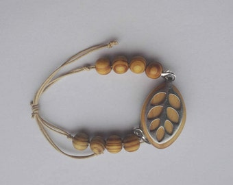 Bellabeat leaf bracelet Adjustable cotton cord bracelet with wooden beads to wear with Bellabeat Leaf vegan