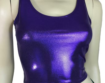 Metallic Purple Crop Top - bodycon Clubwear, Rave Wear, Activewear, Running, Yoga, crossfit