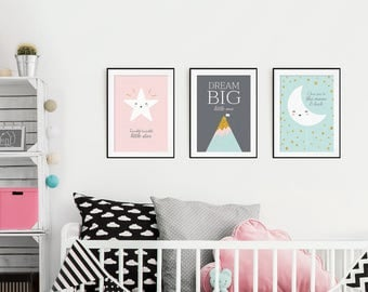 Giclee print, Set of 3, Twinkle Twinkle Little Star, Star print, Scandinavian Style, Minimalist Poster, Nursery Print, Moon Print, Moon Star