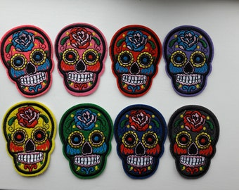 8 pack of Day of the Dead patches, colorfull skulls, iron on