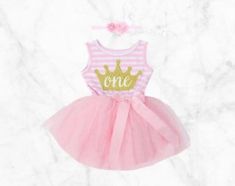 1st Birthday Tutu Dress Set Pink first bday Outfit with Headband Included