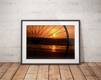 Urban Photography, Art, Unique Photography, Wall Art, Bike, Sunrise