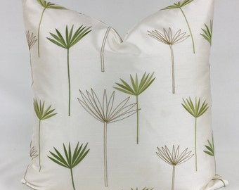 Pillow Cover -  20 x 20  - Embroidered - Serene - Zen - Green - Leaf Design - Cream - Lined - Zippered