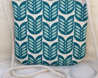 Crossbody Purse – Teal Floral Japanese Fabric, Cross Body, Cross-Body, Smartphone Bag, Grab + Go Purse, Hip Pouch, Festival Purse Handbag