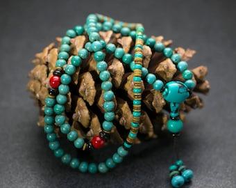 Turquoise Mala Necklace, Zen Jewelry, Tibetan Jewelry