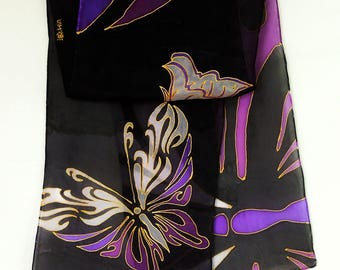 New! Butterfly dancing,purple,black,silk scarf original design hand painted in Scotland , great for party/date/evening activities,18*60 Inch