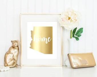 Real Foil Print // Arizona // Home // State // Frame Optional // 5x7, 8x10 // Decor //Gift