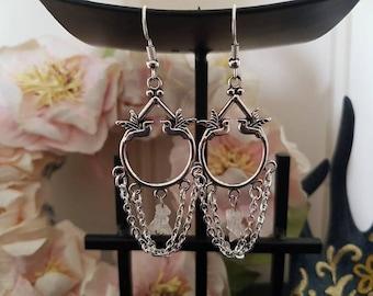 Love Birds Rose Quartz Chain Earrings