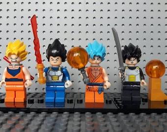 x4 Dragonball Z Minifigures - Custom Set - Goku Vegeta Gohan Super Saiyan God Dragon Ball Z - Lego Compatible