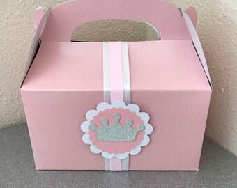 Princess favor boxes, pink favor boxes