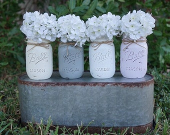 Rustic painted Mason Jars, Wedding Centerpieces, Bridal shower centerpieces