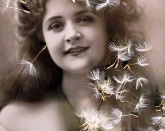 DANDY art print of woman with dandelion clock- customised vintage postcard - contemporary eclectic art
