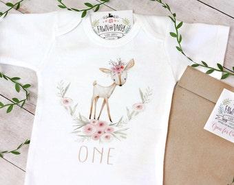 First Birthday Outfit Girl - 1st Birthday Shirt - Deer Birthday - Woodland Birthday Onesie®