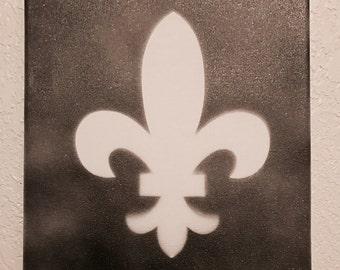 Reverse Silhouette Fleur de lis in black & gold on 11x14 canvas (unframed)