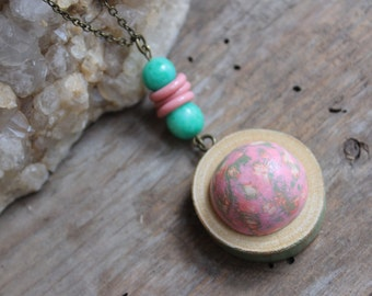 Wood Necklace, Pink Necklace, Hand Painted Necklace, Statement Necklace, Recycled Jewelry, Unique Jewelry, Modern Jewelry, Gift for Her