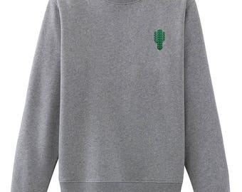 Cactus Embroidered Sweatshirt Cacti Plant Sweatshirt