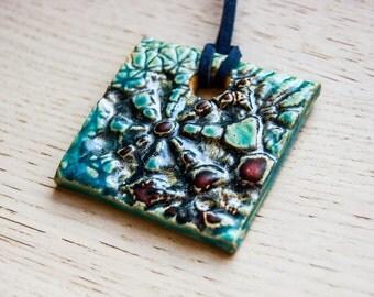 Elnath - square ceramic pendant