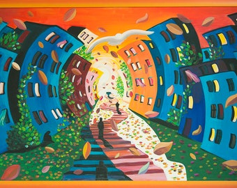 "Hand painted canvas entitled ""hope"" dimensions 125 x 76 cm, framed Orange shaded"