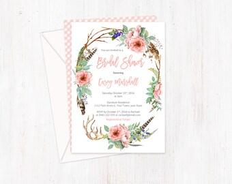 printed bridal shower invitations, bridal shower invites, dogwood roses invites, vintage roses invites, antique pink, bohemian bridal shower