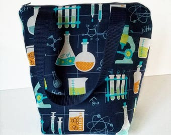 Science lunch bag, insulated lunch bag, adult lunch bag, waterproof interior, lunch tote, reusable lunch, lunch bag for men, kids lunch bag