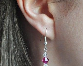 Bright Pink Swarovski Crystal Earrings