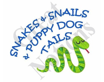 Snakes And Snails - Machine Embroidery Design