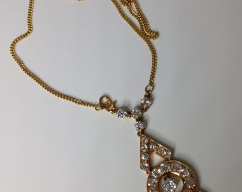 "Estate Art Deco 22K Gold 3.55 CTW old European cut Diamonds 20"" Drop Necklace"