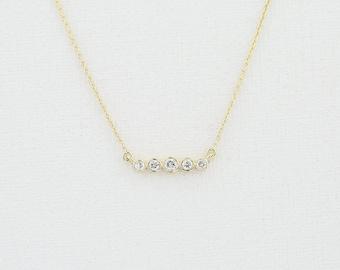 14K Gold Five Round Cut Diamond Row Pendant Necklace/ Non-Conflict Diamond Gold Minimalist Design Necklace/ Handcrafted Graduation Gift
